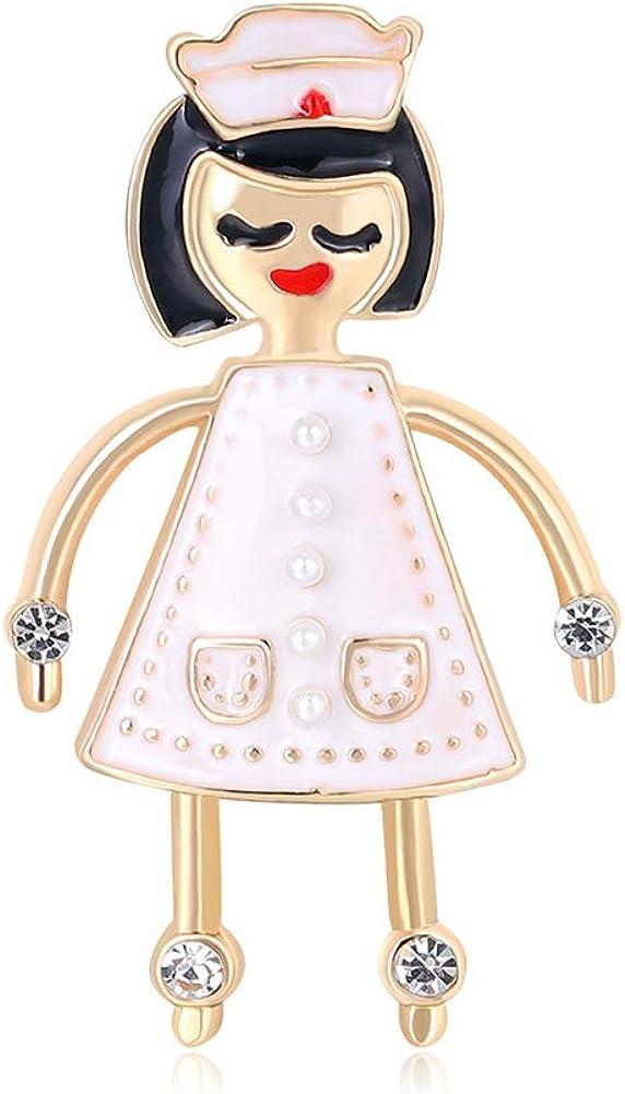 HaHawaii Brooch Pin, Fashion Cartoon Girl Small Brooch Pin Alloy Badge Suit Jacket Lapel Accessory - Pink