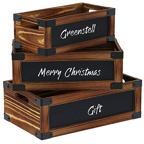 Greenstell Wood Nesting Storage Crates with Chalkboard and Cutout Handles, Decorative Farmhouse Wooden Storage Container Boxes, Perfect for Wall Mounted Storage Wooden Box (Brown)