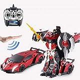 RC Deformación del coche Inducción Transformador de robot de carga eléctrica del niño del muchacho de coches de juguete sonidos de las luces 360deg;Presente rotación Drift Autobots Niños adulto El mej
