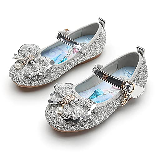 Eleasica Zapato de Cosplay, Plantilla Dibujo Princesa Elsa, Cierre de Velcro, Calzado Adornado Lazo con Perlas Brillantes Lentejuelas, Regalo de cumpleaos, Carnaval, Disfraz de Halloween