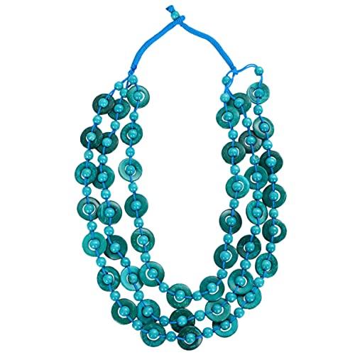 VALICLUD Collar de Concha de Collar de Cuentas de Madera Collar de Perlas de Bohemio Collar de Perlas Multicapa para Damas Mujeres Niñas (Azul Cielo)