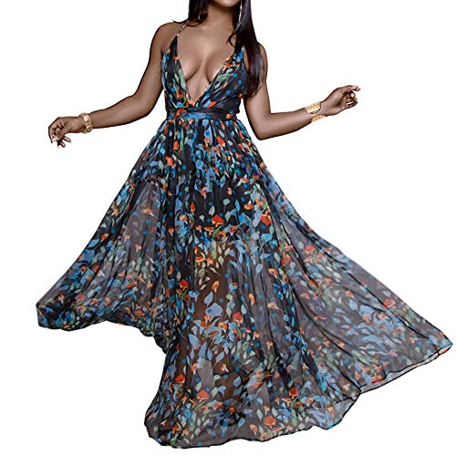 FANDEE Summer Dresses for Women Maxi Sexy Strap Floral Chiffon V Neck Flower Blue Large