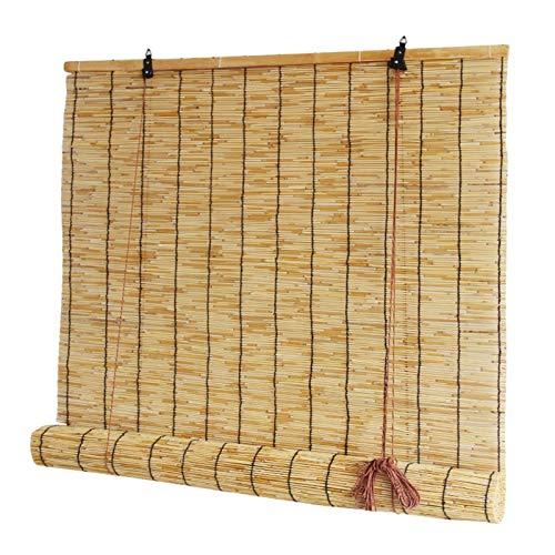 JSONA Cortina de varillas de bambú natural, instalación en techo o pared, se puede elevar y bajar, translúcido, opaco, se puede utilizar en casa de té, hogar/tienda, se puede ajustar (1,2 m x 2,2 m)