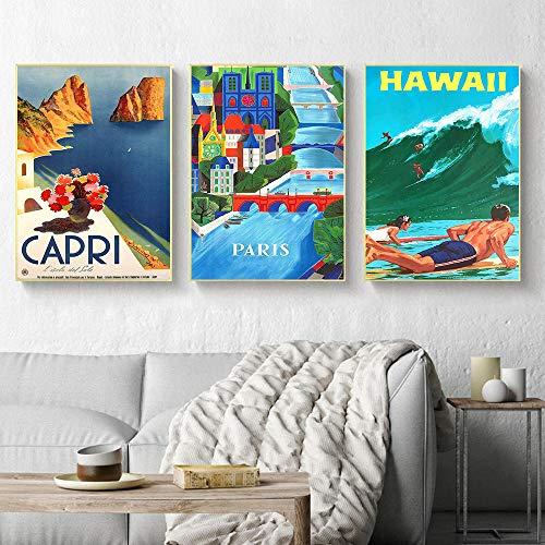 SNGTOW Vintage Atracciones de fama Mundial Ciudad Capri Hawaii Grecia París Lienzo Pintura Arte de la Pared Carteles e impresión para la decoración de la Sala de Estar | 40x60cmx3 Sin Marco