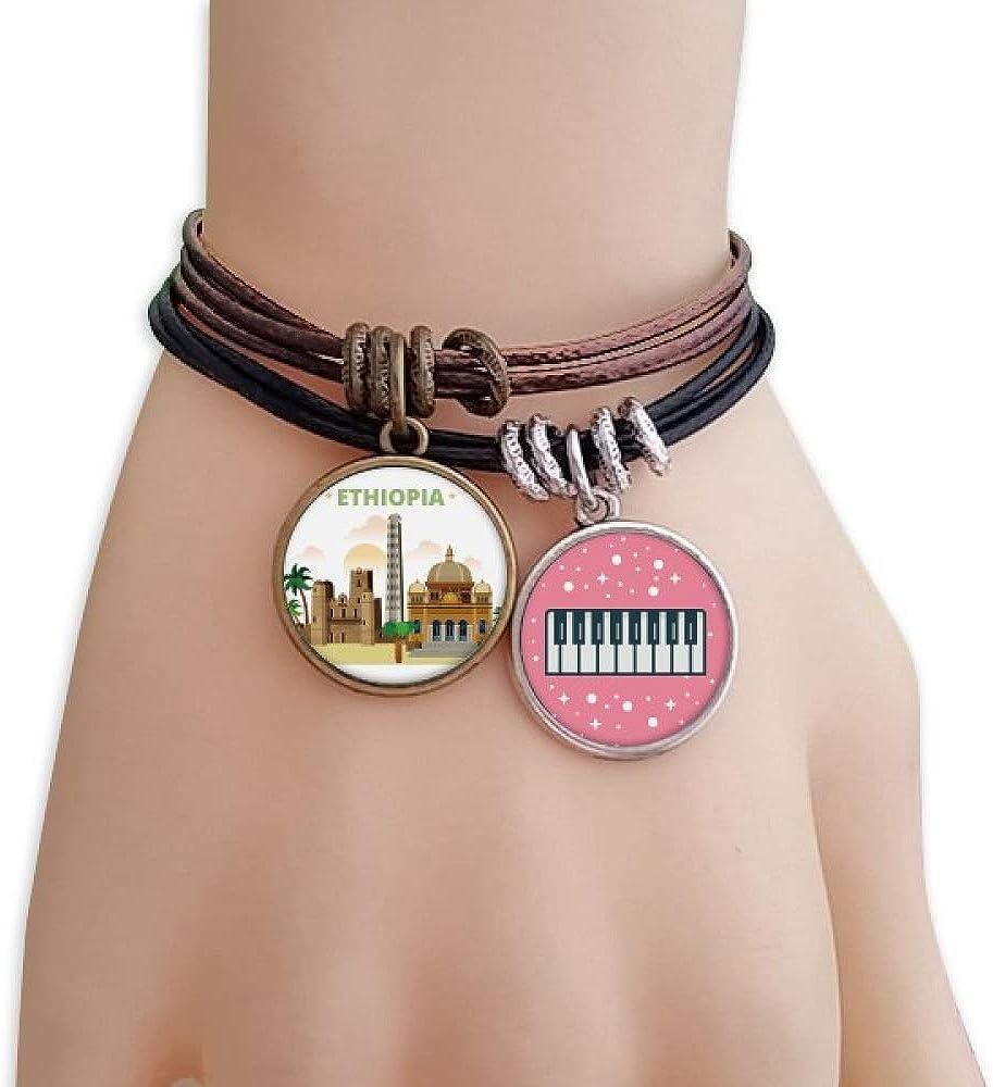 cold master DIY lab City Castle Ethiopia Bracelet Rope Wristband Piano Key Music Charm