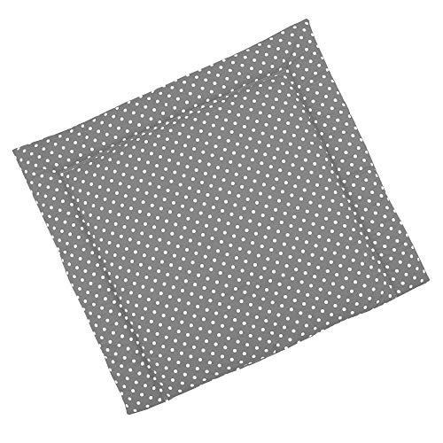 Sugarapple Wickelauflage 80x75 cm, ca. 3 cm dick mit Oberstoff aus 100% Baumwolle, innen weich und warm wattiert, doppelt abgesteppte Nähte und machinenwaschbar, Grau Punkte weiß