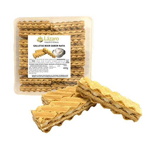Galletas Boer Sabor Nata. Exquisitas Galletas de Coco rellenas de Nata de Primera Calidad, que haran las delicias de todos. 400 g