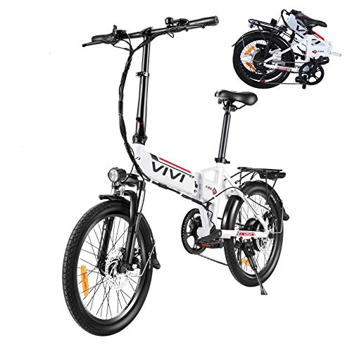 VIVI Electric Bike, 20 Inch Folding Bikes for Adults/Women/Men, 350W Ebike with 36V 8AH Removable Battery, 7 Speed Aluminum Alloy City Folding Bicycle (White)