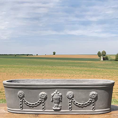 The Original Deco Large Garden Planter Pot Medici Window Balcony Garland Cast Iron Grey Lead 60 cm x 23 cm