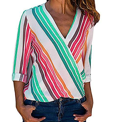 KaloryWee 2018 Damen Frauen Mode Langarm Mehrfarbige Gestreifte Unregelmäßige übersteigt T-Shirt Bluse (Gr.38,Mehrfarbig)