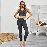 FFN - Juego de ropa para mujer, 2 piezas, para yoga, correr, ajustado, deportivo, sin costuras, sujetador y legginas, traje deportivo Negro Negro ( S