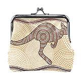 Carteras para mujer lindo cartón marrón canguro está corriendo linda cartera pequeña con cierre de beso monedero cambio para mujeres y niñas de 10,9 x 10,9 cm