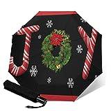 Joy Christmas Wreath Candy Cane Snowflake Rainwear Paraguas automático, triple plegable