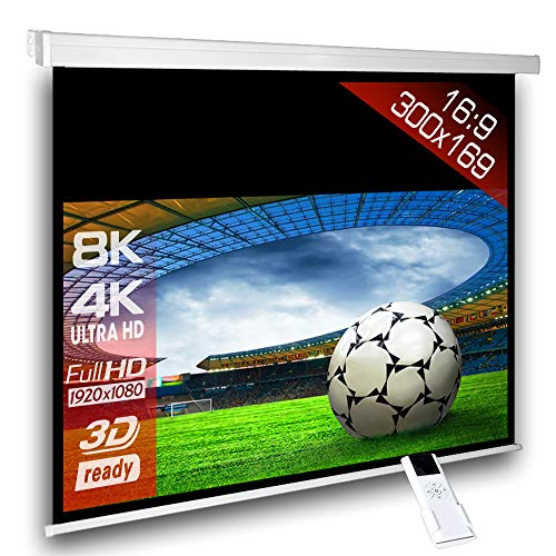 SlenderLine Schermo Proiezione Motorizzato 300x169cm Formato 16:9 con radiocomando per installazione a parete o soffitto