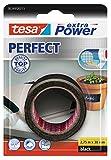 tesa Extra Power Perfect , Cinta de Reparación Reforzada en Tela para Confeccionar, Reparar, Fijar, Reforzar y Etiquetar , Negra , 2.75 m x 38 mm