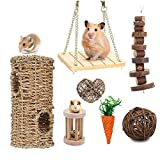 Supmaker Hamster Chew Toys, Guinea Pig Rat Gerbil Chew Toys Accessories, Natural Wooden Bell Roller Teeth Care Molar Toy for Chinchilla Bird Bunny Rabbits