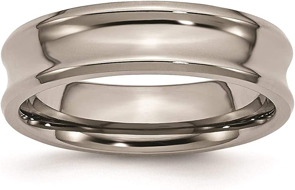 ICE CARATS Titanium Concave 6mm Beveled Edge Wedding Ring Band Classic Fashion Jewelry for Women Gifts for Her