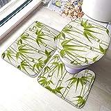 JOOMI Juego de alfombras de baño de bambú Verde, Planta Natural, 3 Piezas, Almohadillas Antideslizantes, Alfombrilla de baño, Contorno en Forma de U, Tapa de Inodoro