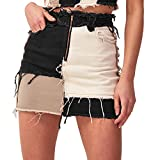 Tulucky Womens Fashion Mid-Rise Color Blocking Patchwork Ripped Stretch Denim Skirts(Black,M)