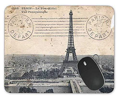 Vintage Eiffelturm Postkarte Rechteck Mousepad Gaming Mouse Pad Gummi längliche Maus Mat