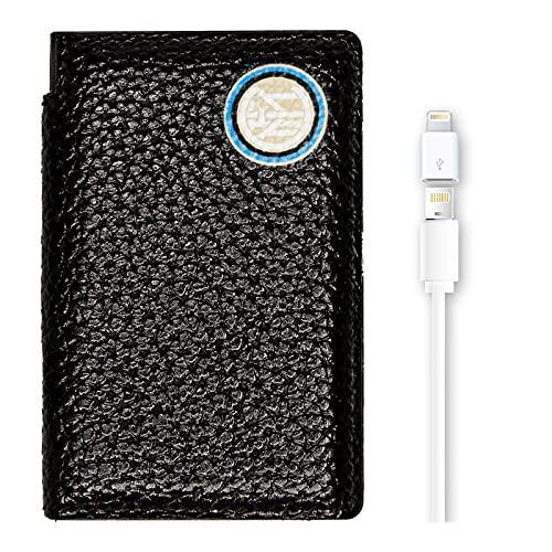 Hi Tech Artisans - Cargador de móvil Oficial del F.C. Inter, 2600 A, de Piel auténtica, Cargador Universal con Cable USB A y Adaptador USB C, Color Negro con Logotipo clásico