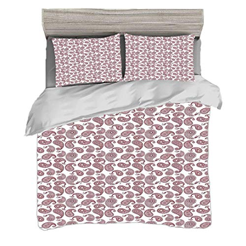 Funda nórdica Tamaño doble (150 x 200 cm) con 2 fundas de almohada Étnico Juegos de cama de microfibra Paisley Hojas Arabian Mehndi Oriental Oriental Tradicional Oriental Boho,Blanco Borgoña,Easy Care