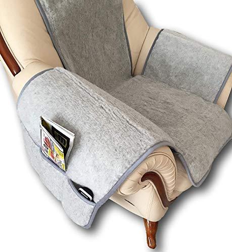 Sesselschoner Silver mit Taschen 100% Merinowolle Sesselauflage Sitzauflage Sitzunterlage Sesselüberwurf Überwurf Silber grau