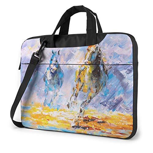 Tcerlcir Laptop-Tasche mit mehreren Taschen,Schulter Messenger-Handtaschenhülle,Laufendes Pferd bedruckte stoßfeste schützende Laptop-Aktentasche für Damen,Reisen,Arbeit 15,6 Zoll