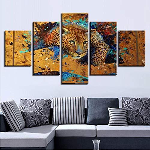 Arte de pared Pintura de Lona Modur 5 Unidades Animal Leopard Tiger HD Marco de Fotos Decoración para el hogar Sa de estar Cartel Moderno Impresiones_30x80cm