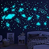 Glow in the Dark Stars for Ceiling,Glowing Space Wall Stickers Solar System Wall Decal,Galaxy Planets Rockets Wall Decor for Kids Boys Girls Bedroom Nursery Room Bathroom Space Planet Wall Decorations