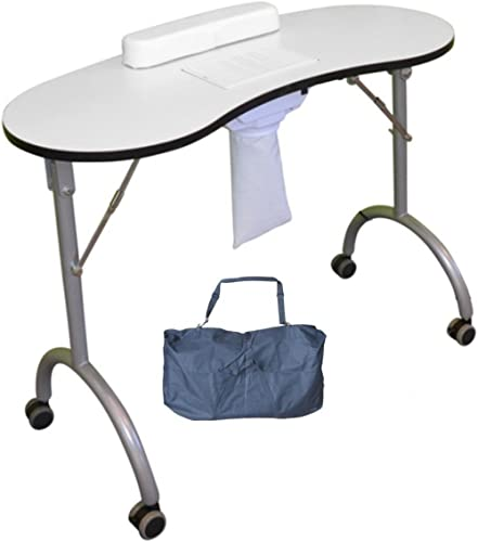 Edelweiss Beauty Table Pliante, Comprend Un aspirateur et Un Repose-Poignet Noir (adapté pour la manucure, la Reconst...
