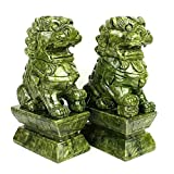 A Pair of Fu Foo Dogs Traditional Chinese Guardian Lion Statues with Jade Stone Finish Feng Shui Decor for Indoor Outdoor Placement (Size : Large)