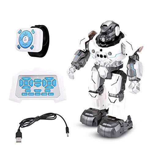 RC Roboter Spielzeug, Geste Sensor intelligente Auto-Follow Smartwatch Roboter singen tanzen pädagogisches Spielzeug Geschenk für Kinder(Weiß)