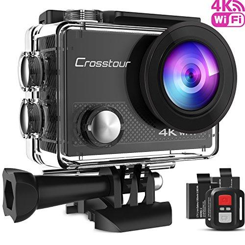 Crosstour Caméra Sport 4K Ultra HD Wi-FI 16 MP avec Télécommande Appareil Photo Caméscope Étanche 30M 170...