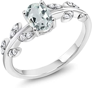 10K White Gold Sky Blue Aquamarine and White Diamond Olive Vine Engagement Ring 0.83 Ctw Oval, Gemstone Birthstone (Available 5,6,7,8,9)