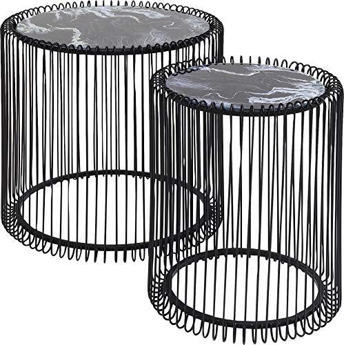 Karebijzettafel Wire Glas Marble Bijzettafel 2er Set Zwart-marmer
