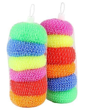 namaskaram Plastic Scrubber Round Nylon Scrubbers for Teflon Pots and Pans Cleans up Big Messes with Little Effort Safe for Non-Stick cookware, Multicolour -Set of 6