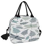 Bolsa de almuerzo, bolsa de picnic con diseño de libélula sin costuras, reutilizable, lonchera, bolsa de almuerzo con correa para el hombro, para el trabajo, la escuela, la playa