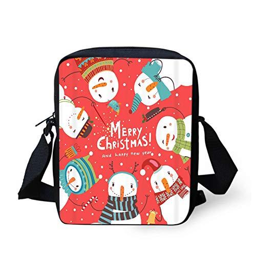 COEQINE Christmas Snowman Pattern Messenger Bag Shoulder Bag,Trendy Crossbody Bag Satchel for Women Girls Teen