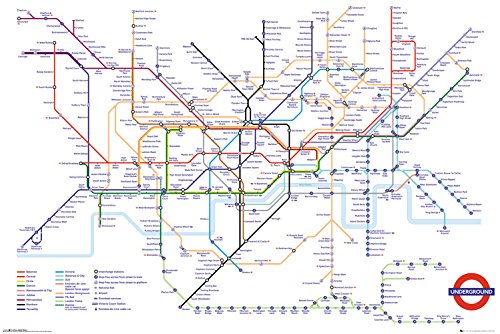 GB Eye Ltd Transport for London, Underground Map, Maxi Poster 61 x 91,5 cm, Holz, verschiedene, 65 x 3,5 x 3,5 cm