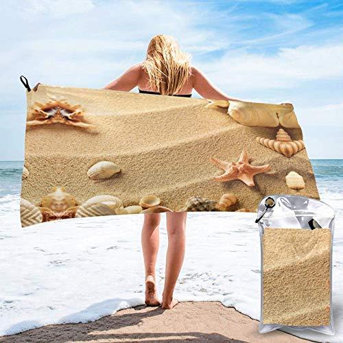 FLDONG Toalla de secado rápido con impresión de arena de concha de playa, ultra suave, compacta, adecuada para camping, gimnasio, playa, hogar, 81.5 x 150 cm