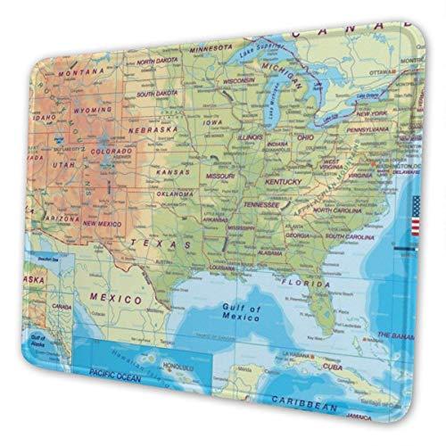 Muismat, kleurrijke kaart, USA-muismat, personaliseerbaar, uniek, laptop toetsenbord, grote muismat, bureauhoes, ideaal PC en notebook