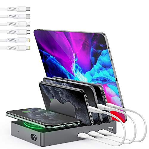 Undassenk 50W 4 Ports USB-C and USB-A Fast Charging Station for Multiple Devices Wireless Charging Station, Compatible with Quick Charger PD 3.0 20W/QC 12W for Apple iPhone/iPad/Samsung/Android