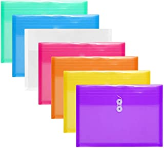 YoeeJob 7 PCS Legal Ploy String Envelopes with 1 Inch Gusset Side Loading Plastic Paper File Folders for Home Office