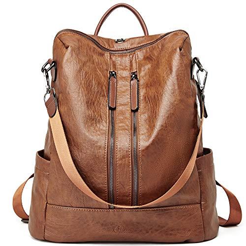 CLUCI Damen Rucksack Mode Leder Schultertasche Elegant Große Reiserucksack Leichter Tasche für Frauen 2 in 1 Braun