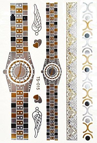 Oh My Shop - TTS15 - Planche Tattoo Tatouage Ephémère Body Art Montres et Bracelets - Argent/Or/Noir