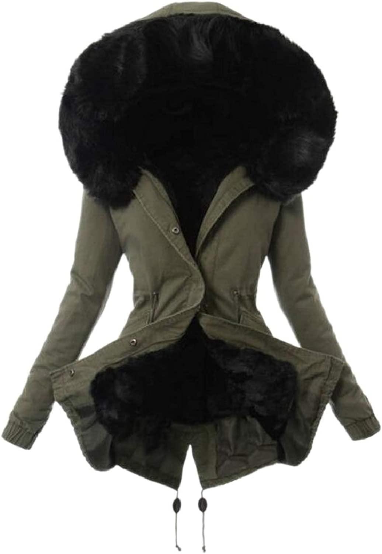 PujinggeCA Womens Lamb Hoodie Faux Fur Trim Zip Front Long Sleeve Down Coat
