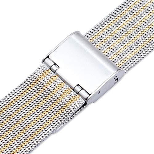 CRFYJ Correa de Reloj de Metal milanés 12 mm 14 mm 16 mm 18 mm 20 mm 22 mm Oro Rosa Oro Plata Ultrathin Acero Inoxidable de Acero Inoxidable Milán Bandas de Reloj de Reloj de Reloj
