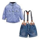 heavKin-Clothes 2-7Y Children's Kids Baby Boys Blue Striped Long Sleeve Shirt Denim Overalls + Strap Shorts Set (Blue, 3-4 Years)