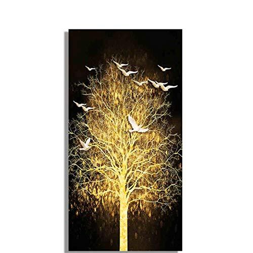 FUXUERUI Abstrakter Goldbaum und weißer Vogel Pflanzen Leinwandmalerei Moderne Plakate druckt Wandkunstbild für Wohnzimmer-Dekor - 50x100cm ungerahmt